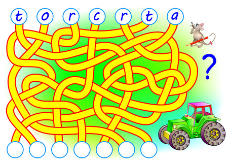 Logic puzzle game for study English. Need to find the correct places for the letters, write them in relevant circles and read the word. Stock Illustratie