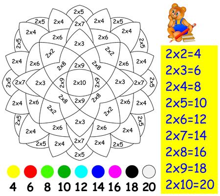 Exercise for children with multiplication by two. Need to paint image in relevant color. Developing skills for counting and multiplication.