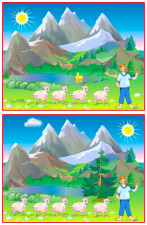 Logic exercise for young children. Need to find 6 differences. Illustration drawing on computer by graphic tablet. Stock Photo