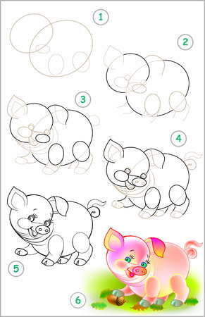 Page shows how to learn step to draw little pig developing children skills for drawing and coloring. Vectores