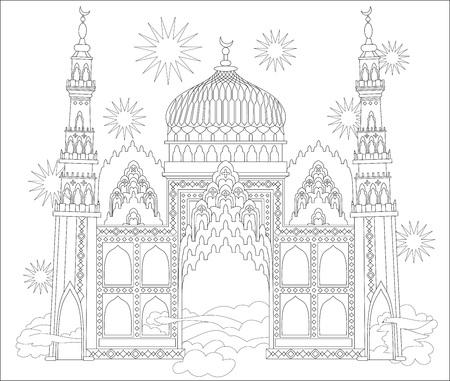 Schwarz-Weiß-Seite zum Ausmalen. Fantastisches arabisches Schloss von einem Märchen. Arbeitsblatt für Kinder und Erwachsene. Vektorbild. Standard-Bild - 91279646