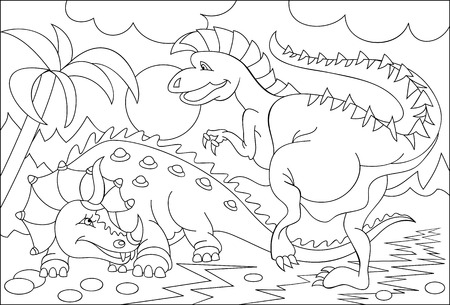 Black and white page for coloring. Fantasy drawing of two funny dinosaurs. Worksheet for children and adults. Vector image.