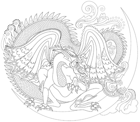 Black and white page for coloring. Fantasy drawing of Celtic dragon. Worksheet for children and adults. Vector image.
