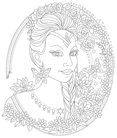 Black and white page for coloring. Fantasy portrait of beautiful woman. Worksheet for children and adults. Vector image.