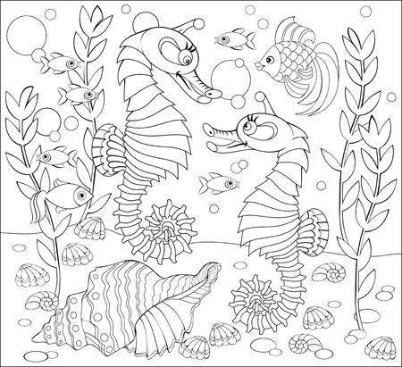 Page noir et blanc à colorier. Dessin fantastique de la vie sous-marine avec deux hippocampes. Fiche de travail pour enfants et adultes. Image vectorielle