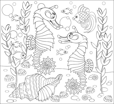 Black and white page for coloring. Fantasy drawing of underwater life with two seahorses. Worksheet for children and adults. Vector image.