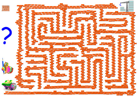 Logic puzzle game with labyrinth for children and adults. Help the truck to reach the building construction. Vector image.