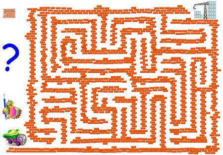 Lógica jogo de quebra-cabeças com labirinto para crianças e adultos. Ajude o caminhão a alcançar a construção do prédio. Imagem vetorial.