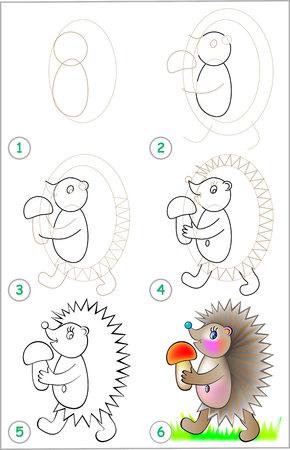 Seite Zeigt, Wie Man Schritt Für Schritt Lernt, Ein Eichhörnchen Zu ...