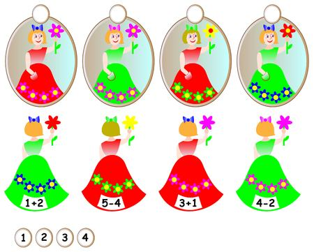 Logic exercise for children. Need to find mirror with reflection for each girl and write the relevant number. Developing skills for counting.