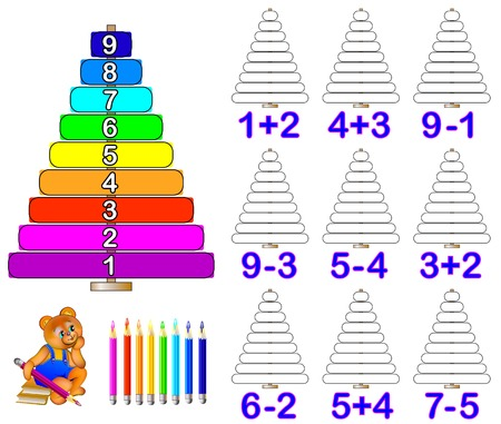 Exercises for children on addition and substation. Need to solve examples and paint the corresponding number of rings.