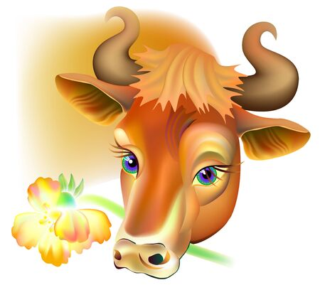 Illustration of cow holding a flower.