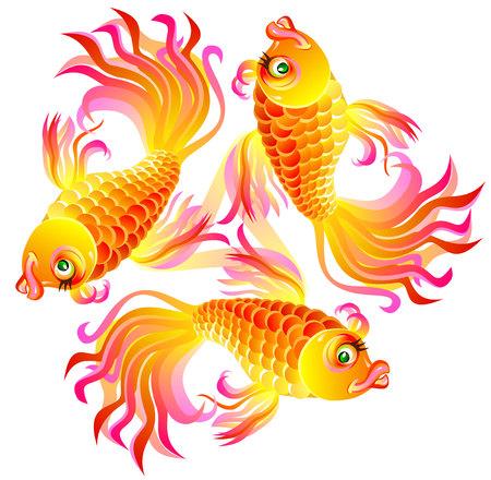 Ilustração de três peixes que jogam, imagem de desenho animado de vetores.