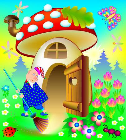 Illustration des lustigen Gnomes sein Haus, Vektorkarikaturbild säubernd. Standard-Bild - 91692881