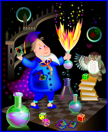 Illustration of wizard doing alchemy, vector cartoon image. Иллюстрация
