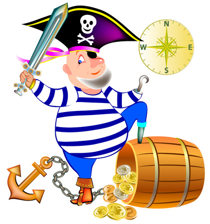 Illustration of joyful pirate with a treasure. Vector cartoon image.
