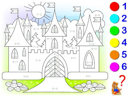 Arkusz matematyczny dla dzieci dotyczący dodawania i odejmowania. Trzeba rozwiązać przykłady i pomalować zamek na odpowiednie kolory. Ilustracje wektorowe