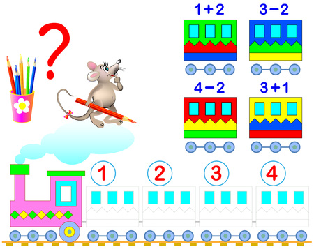 Mathematical worksheet for young children on addition and subtraction. Need to solve examples and paint the train wagons in relevant colors.
