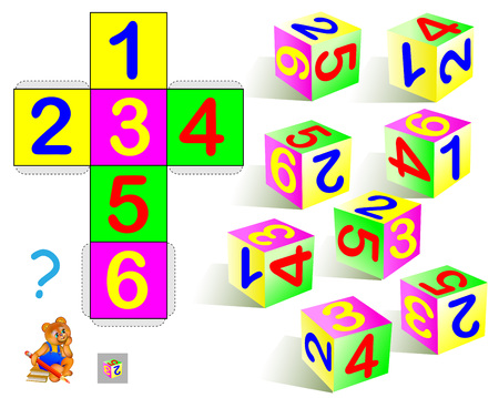 Logic puzzle. Find the only one cube that corresponds to pattern. Vector  cartoon image.