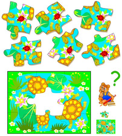 Logic puzzle. Find the only one piece that corresponds to picture. Vector  cartoon image.
