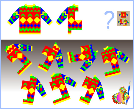 Logic puzzle. Need to find the only one correct  half of sweater which corresponds to pattern. Vector image. Illustration