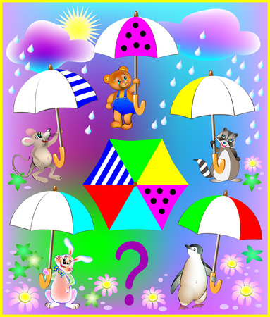 Logic exercise for little children. Need to paint in the empty places. All the animals have identical umbrellas. Vector cartoon image.