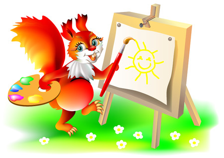 Illustration of squirrel painting picture. Illustration