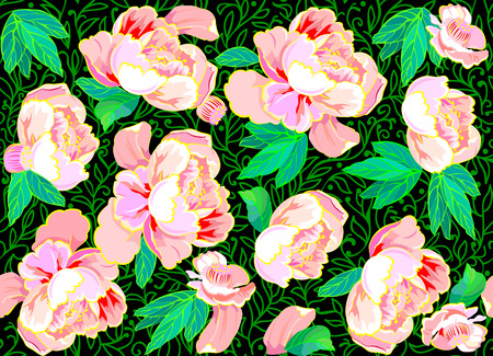 Seamless pattern with pink roses on a black background, vector cartoon image.