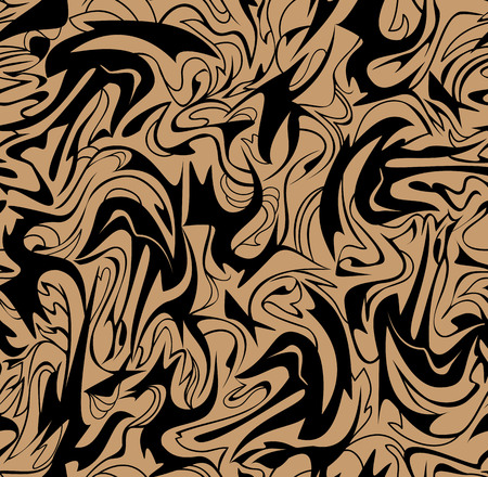 Abstract brown and black seamless pattern for wallpaper with hand drawn colorful waves, vector image. Иллюстрация