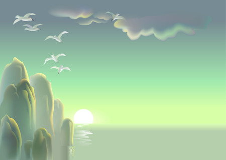 Paysage d'une mer avec des rochers pointant hors de l'eau, image vectorielle.