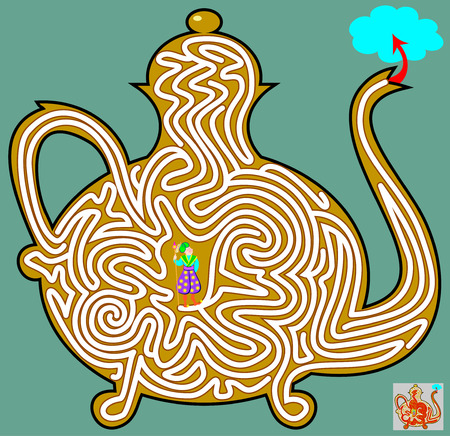 Logic puzzle game with labyrinth for children and adults. Help the magician get out of the jug. Vector image.