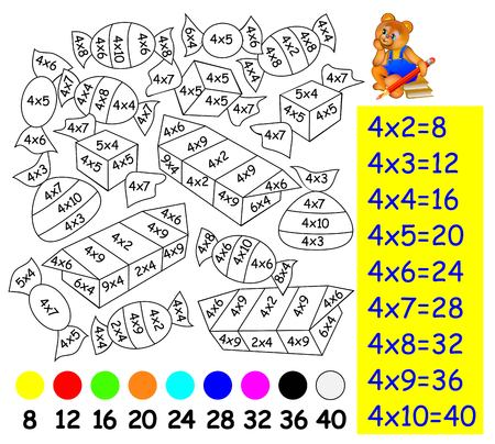 Exercise for children with multiplication by four. Need to paint image in relevant color. Vettoriali