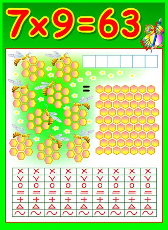 Educational page for children with multiplication by seven. Vector image.