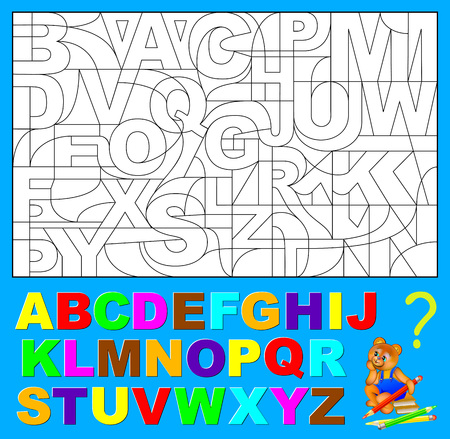 Educational page for young children.  Need to find the hidden letters of English alphabet and paint them in relevant colors. Vector image.
