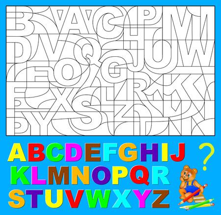 Page éducative pour les jeunes enfants. Besoin de trouver les lettres cachées de l'alphabet anglais et de les peindre avec les couleurs appropriées. Image vectorielle