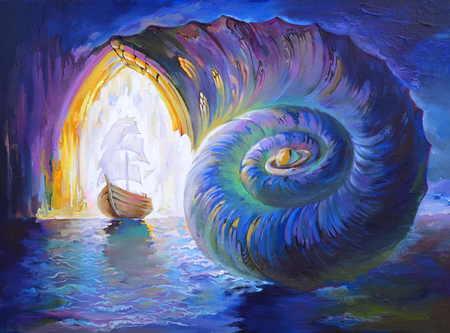 Miracle of evolution way. Fantastic fairyland seascape. Oil painting on canvas.