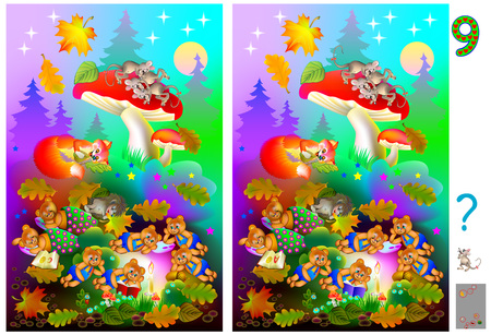 Exercises for young children. Picture of animals sleeping in the forest. Need to find 9 differences. Developing skills for counting. Vector cartoon image. 일러스트