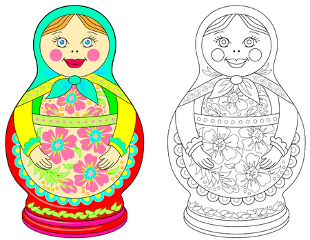 Colorful and black and white pattern for coloring. Illustration of Russian doll. Worksheet for children and adults. Vector image.