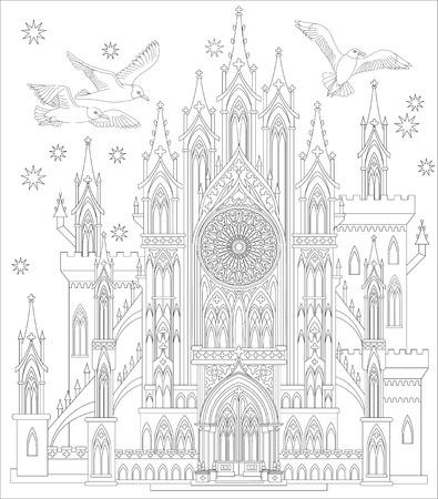Página En Blanco Y Negro Para Colorear. Fantástico Palacio Medieval ...