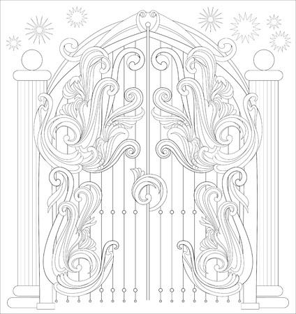 着色のための白黒のページ。おとぎ話からゲートの幻想的な描画。子供と大人のベクター画像のためのワークシート。  イラスト・ベクター素材