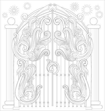 Black and white page for coloring. Fantastic drawing of gate from a fairy tale. Worksheet for children and adults vector image.