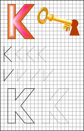Educational page with alphabet letter K on a square paper. Developing skills for writing and drawing.