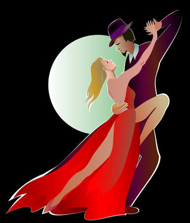 Illustration of man dancing the tango with a beautiful woman in a red dress, vector cartoon image. Illustration