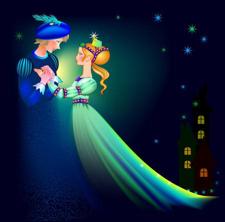 Illustration of prince and princes dancing, vector cartoon image.