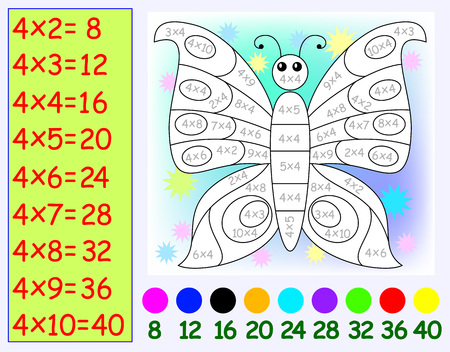Exercise for children with multiplication by four. Need to paint butterfly in relevant color. Vector image.
