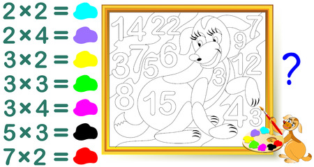 Worksheet with exercises for children with multiplication. Find the answers and paint the numbers in relevant colors. Vector cartoon image.