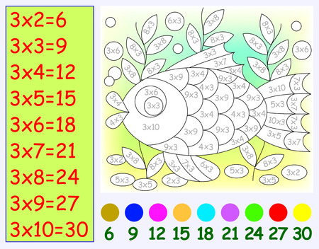 Exercise for children with multiplication by three. Need to paint image in relevant color. Vector image.