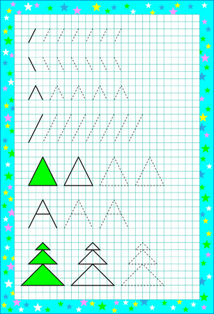 Page with exercises for young children on a square paper. Developing skills for counting and writing vector image.