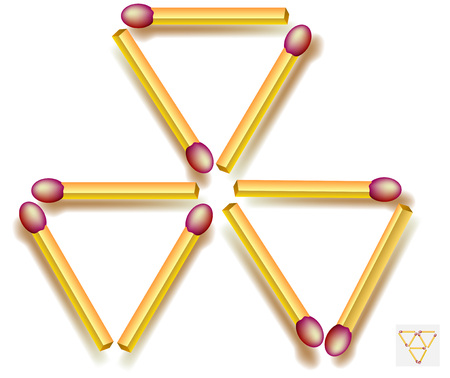 Move three matchsticks to make five triangles. Logic puzzle game. Vector image.