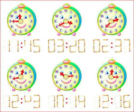 Logic puzzle game for little children. In each task add 1 matchstick to receive correct time. Illustration